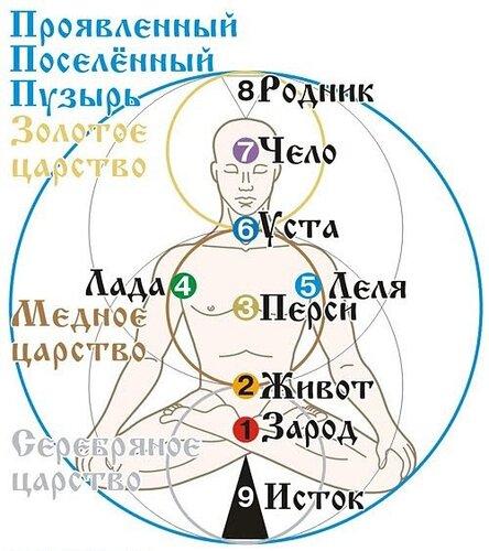 Нашла интересную схему, как видели наши предки чакровую систему человека.  9 - Исток...  9 основных чакр с цветом и...