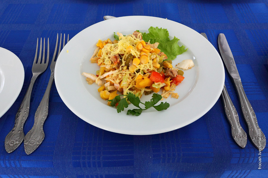 Салат с пряной свининой (свинина, запеченная со специями, капуста китайская, огурцы консервированные, перец болгарский, помидоры свежие, кукуруза консервированная, сыр, майонез)