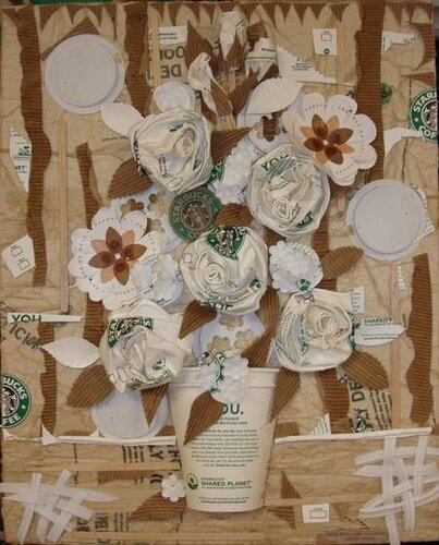 recycling work: a collage of paper cups.