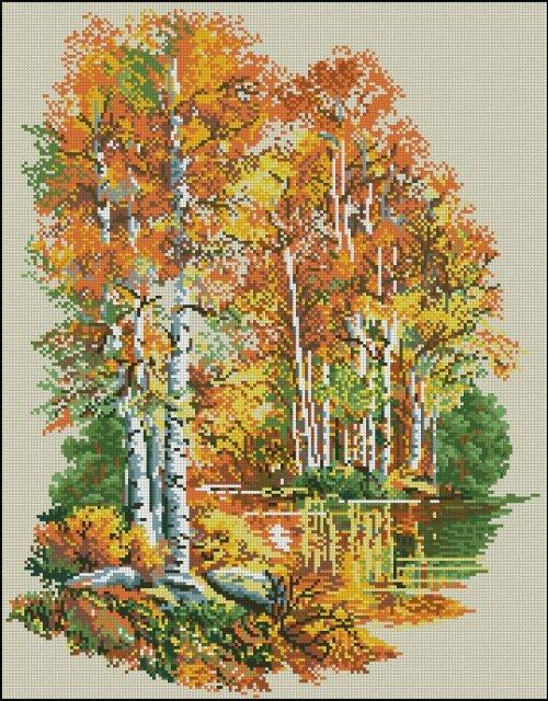 """Канва с рисунком  """"Осень золотая """".  Схема вышивки нитками мулине, формат A3."""