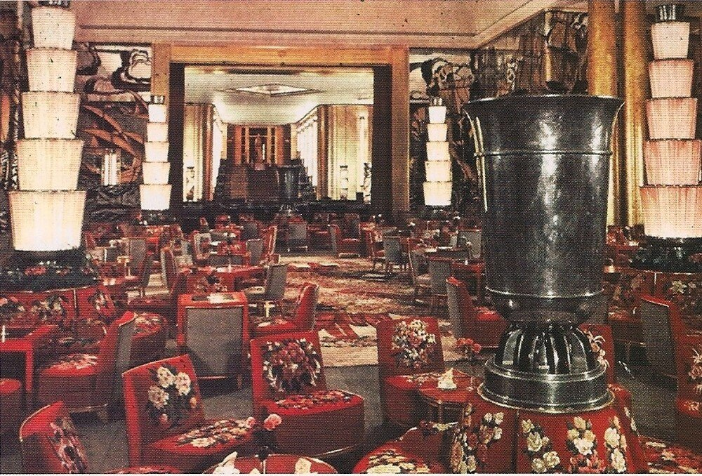 Normandie rare color photograph of Grand Salon with view of Fumoir in background circa 1935f.jpg