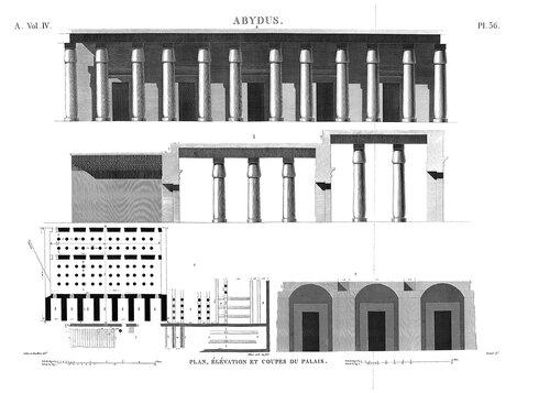 Храм Сети в Абидосе, Египет, чертежи