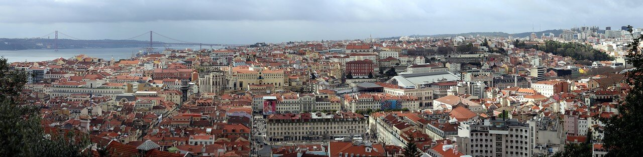 Lisbon. View from the citadel tower of St. George's castle