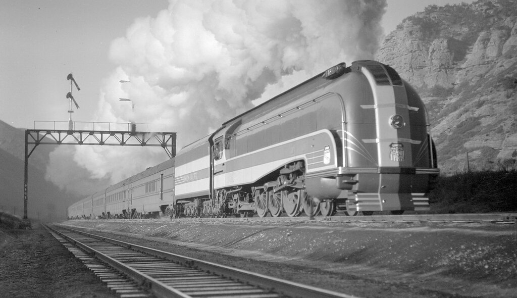 Union Pacific train, streamlined steam engine number 7002, Train #48, the 49er, near Echo, Utah, October 23, 1937