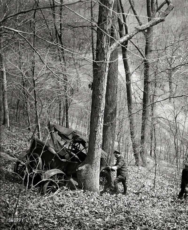 Врезался в дерево: Авария на склоне лесистого холма (1923 год)