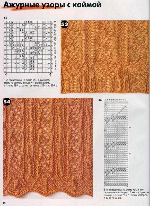Схемы вязания с каймой спицами схема 107