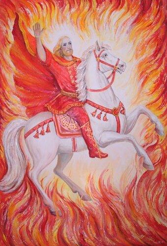 красный фон, белые лучи, славянский воин на лошади