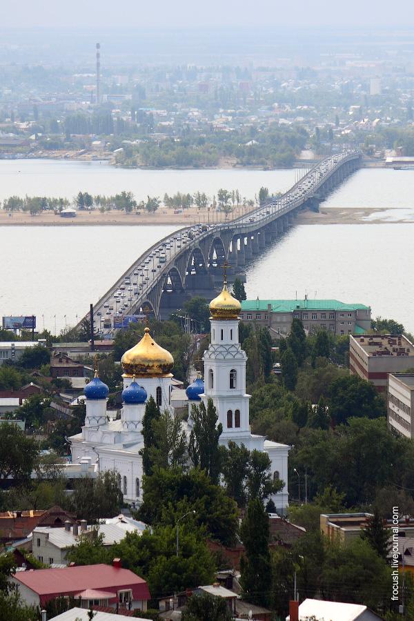 Собор Сошествия Святого Духа (Духосошественская церковь), саратовский автомобильный мост, город Энгельс