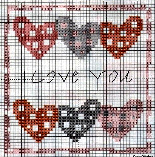 14 февраля - схемы. открыточка с сердечками.  Добавил: dang.  Категория.