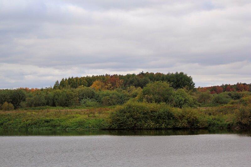 Желтые и красные деревья - осень на берегу Вятки