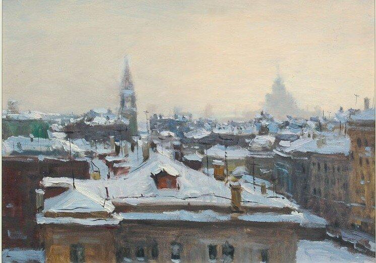 Юрий Александрович Волков (1919 - 1990). Вечернее небо над Москвой. Конец 50-х.