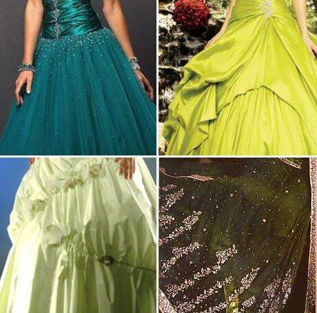Выбираем зеленое свадебное платье