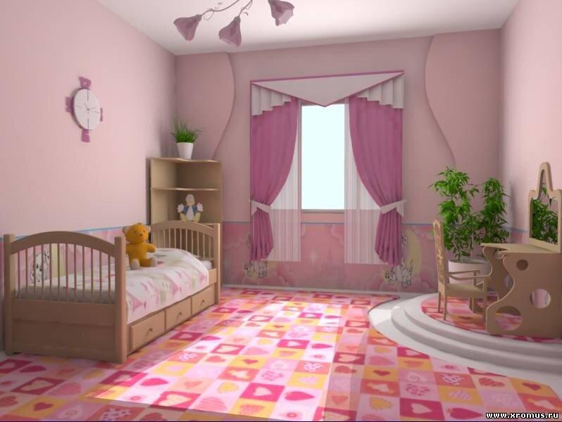Интерьер детской комнаты для девочки фото.