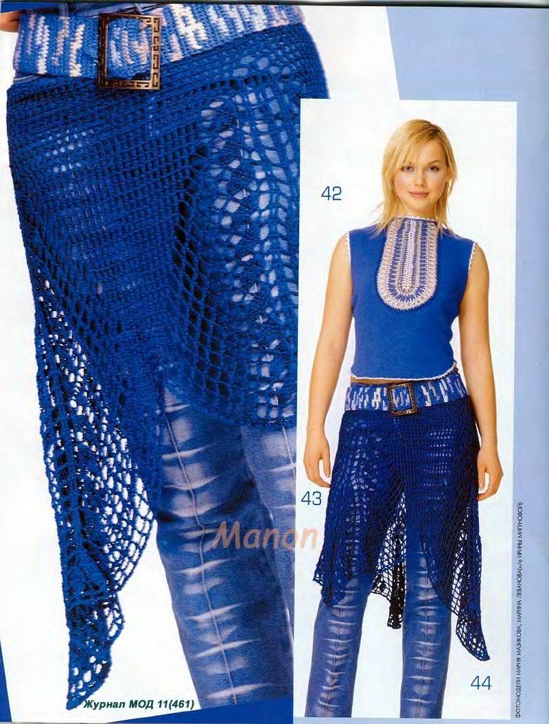 Вязание крючком с джинсовыми вставками 69