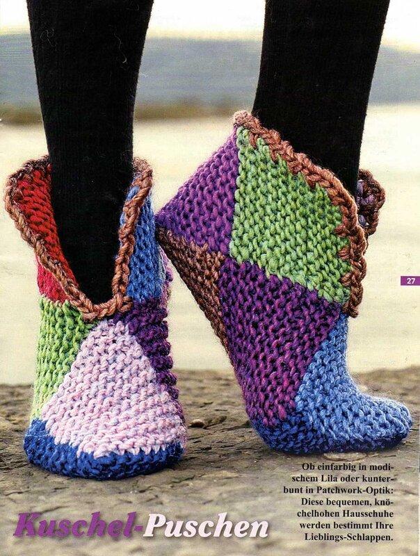 Вязание носков из квадратиков спицами 3
