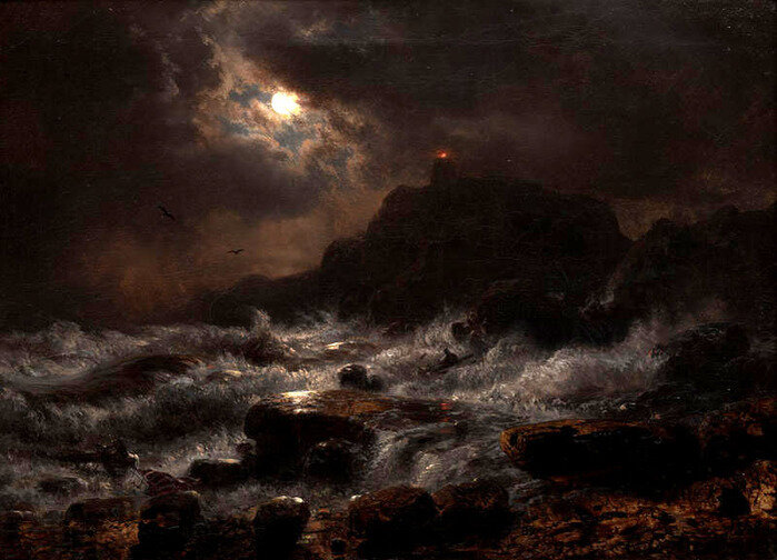 Norwegian Coast by Moonlight, 1848