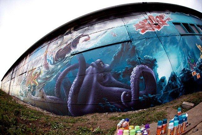 Граффити-проект Mad C, площадью 639,6 кв.м. 20 фото + видео