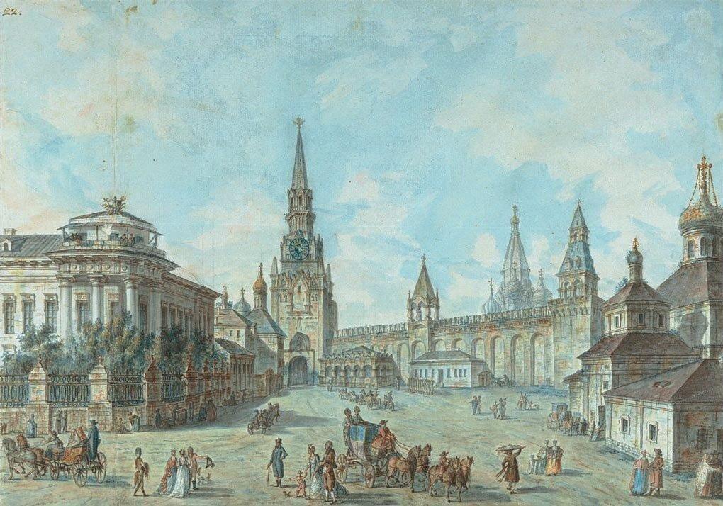 Спасские ворота (Вид в Кремле у Спасских ворот на Архиерейский дом и церковь Николы Гостунского). 1800-е.