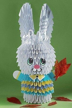 Объемный заяц оригами из