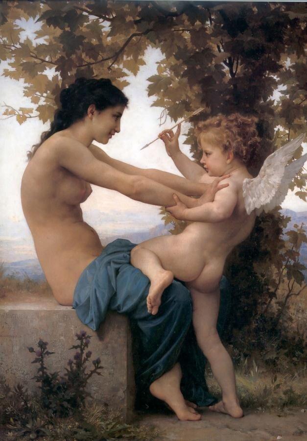 Бугеро, Девушка,сопротивляющася Купидону, (1880г.), A Young Girl Defending Herself Against Eros.