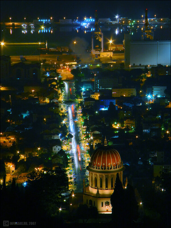 Ночная Хайфа, фотография ночной Хайфы