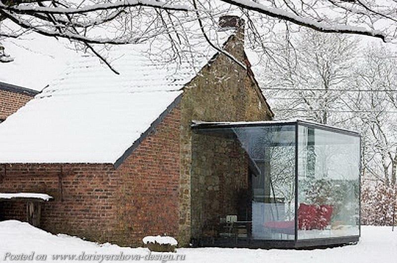 пристройка из стекла, дом, бельгия