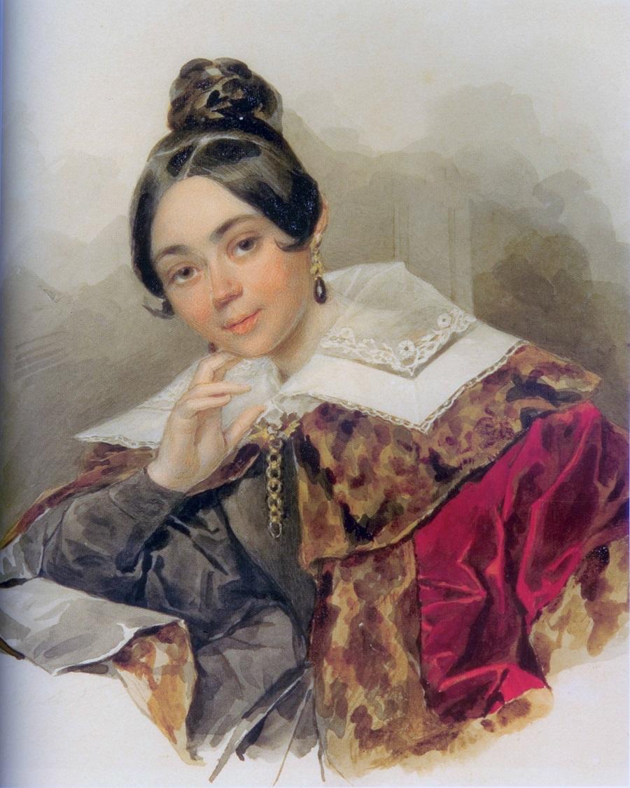 П.Ф. Соколов. Портрет неизвестной в шубке. 1830-е. Бристольский картон, акварель, карандаш, лак.jpg