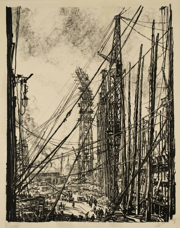 Building Ships: A Shipyard circa 1917 by Sir Muirhead Bone 1876-1953