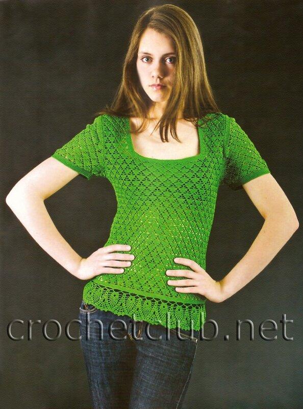Aelen.  Цитата сообщения.  Зелёная футболка крючком.  Прочитать целикомВ.