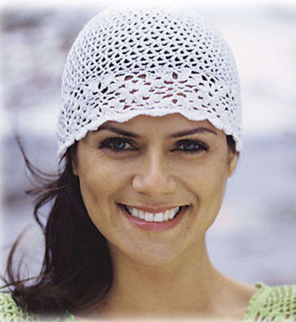 Схема вязанной шапочки крючком лето