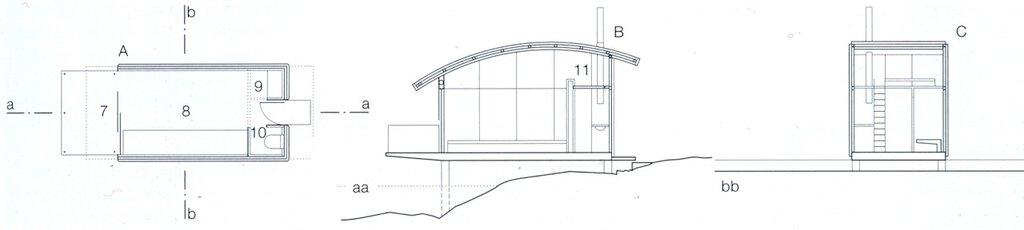 Кемпинг на воде, пирс, эллинг для маленьких яхт, план, разрез, ванна, комната, кровать, гостиная, спальня detail00896
