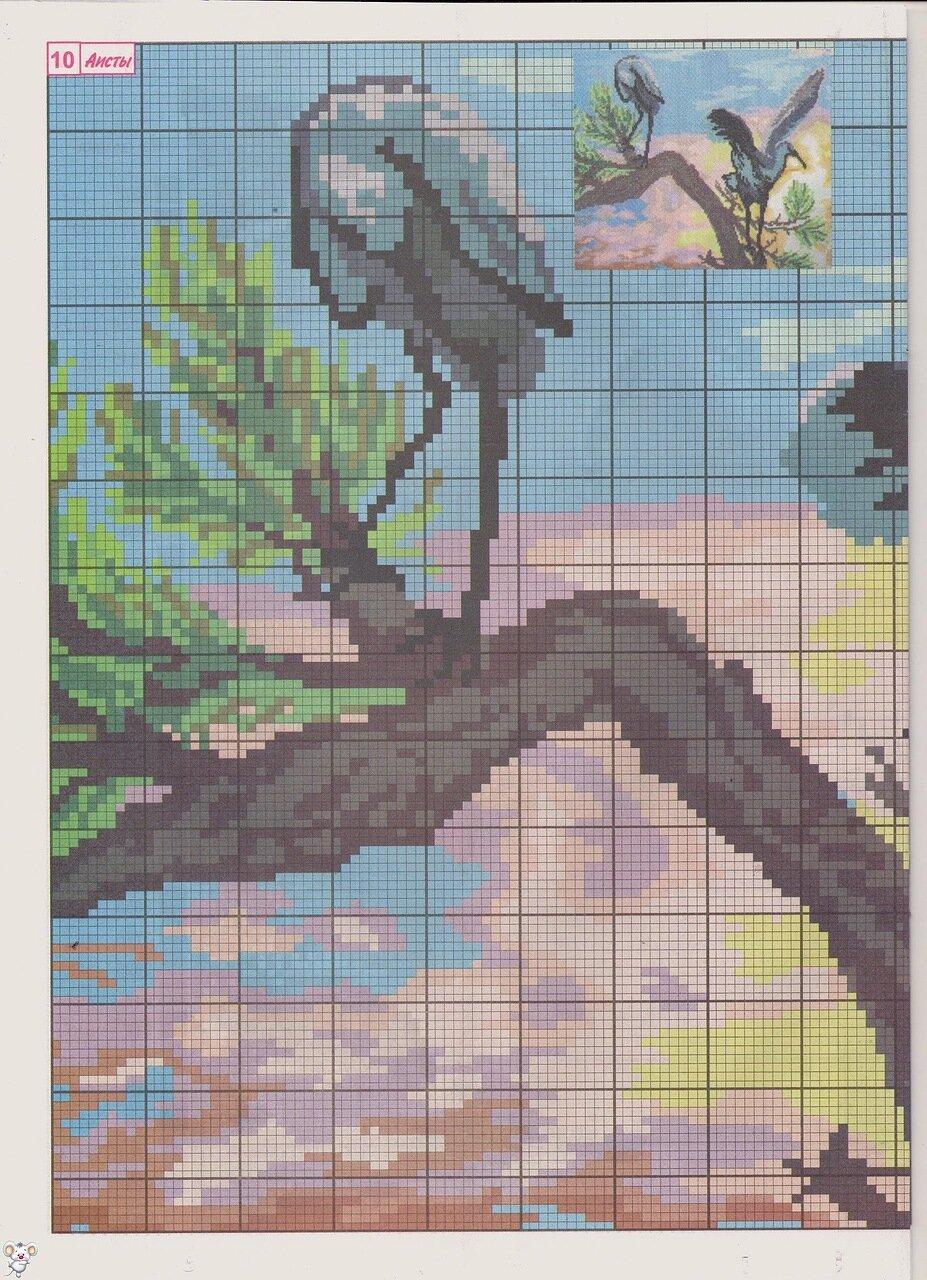Вышивка крестом птицы аист, цветная схема