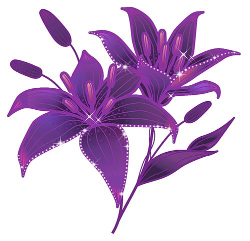 """Схема вышивки  """"Фиолетовые цветы """" ."""