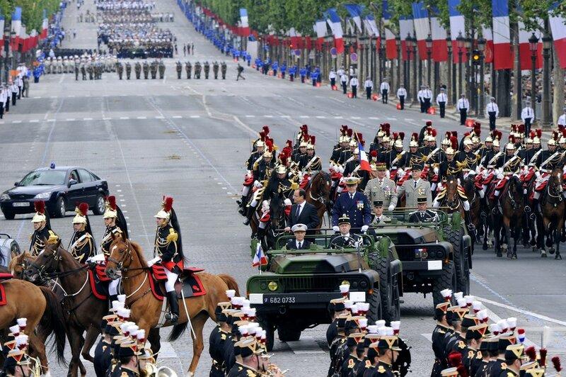 France's President Francois Hollande (C-