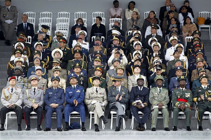 High ranking officers from various countries attend the traditional Bastille Day military parade in Paris