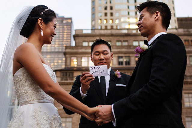 Funny Card During Wedding Ceremony Photo By Steve Young Caters News Agency