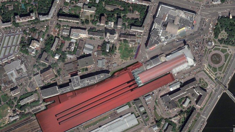 Генеральный план участка застройки, фотоврисовка. Реконструкция прилегающей территории Киевского вокзала