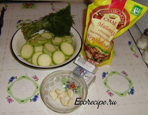 Ингредиенты для приготовления жареных кабачков