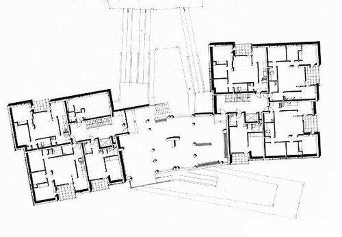 Алвар Аалто, квартиры на Hansaviertel, план 1-ого этажа