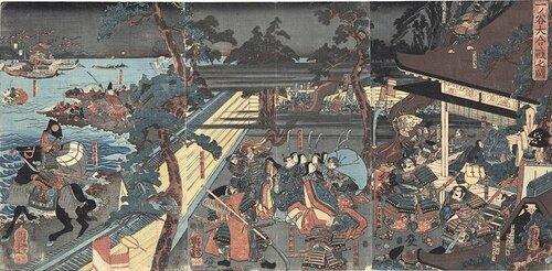 Переполох в Ити-но-Тани, вызванный неожиданным появлением самураев Ёсицунэ в тылу крепости.