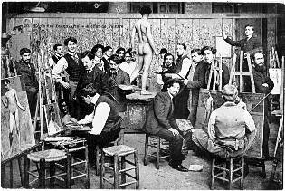 'Students painting from life at the École. Photographed late 1800s