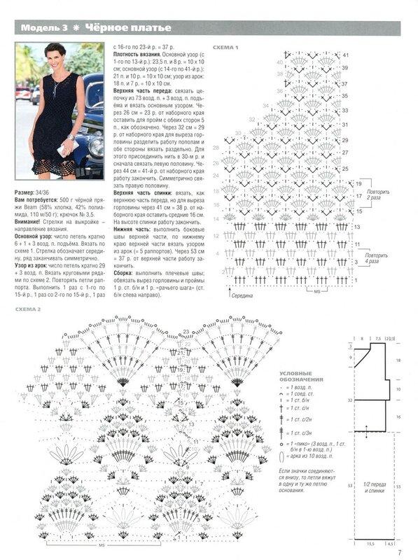 Вязаное платье крючком описание схема
