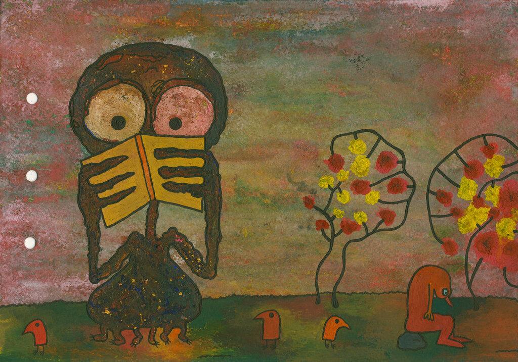 Инопланетянин отнял у поэта книгу. Поэт сидит, повесив нос. Птицы застыли в удивлении