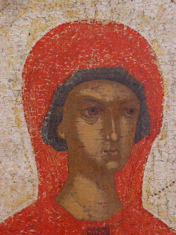 Святая Великомученица Параскева Пятница. Фрагмент иконы. Псков, первая четверть XV века.