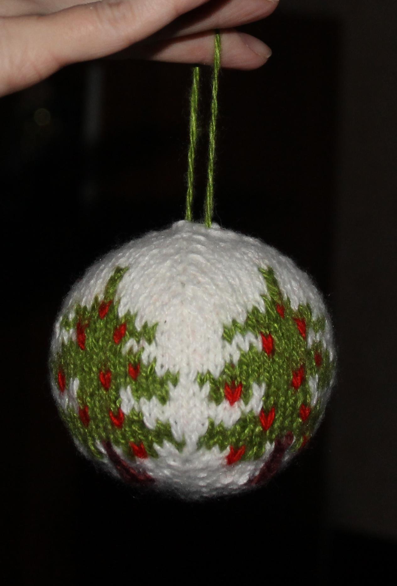 схема вязание спицы новогодние шары