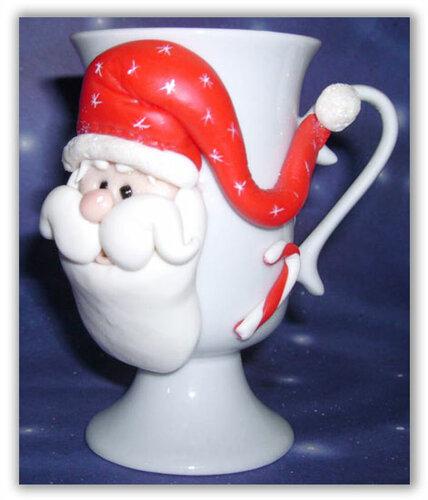 Чашка с Дедом Морозом из холодного фарфора или полимерной глины