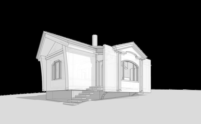 Народный дом, баня, дача, на одну семью, сруб, бревно. пятистенок, Mod 42-96. 56 кв.м. Перспектива 001