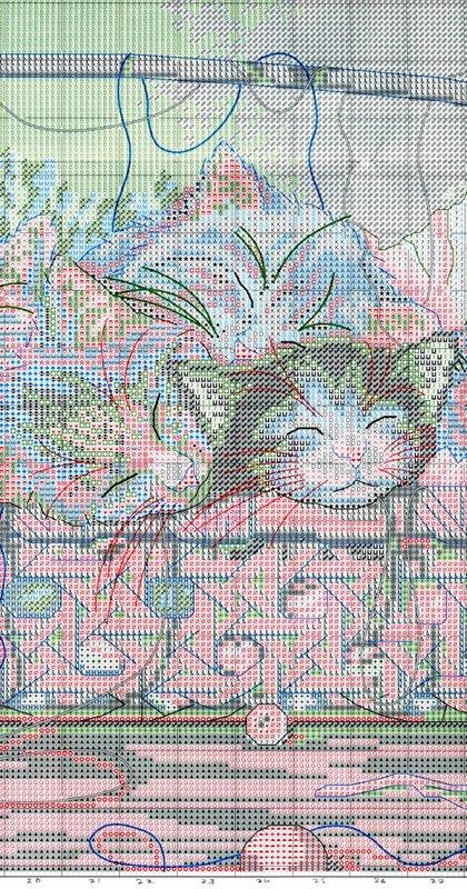 Схема для вышивки - котята в корзинке.  Прочитать целикомВ.