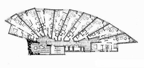 Алвар Аалто, Жилой дом в Бремене, план типового этажа