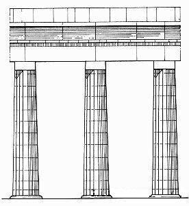 Храм царицы Хатшепсут, коллоны, ордер